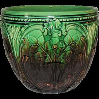 Art Nouveau Brush McCoy Pottery Majolica Jardiniere