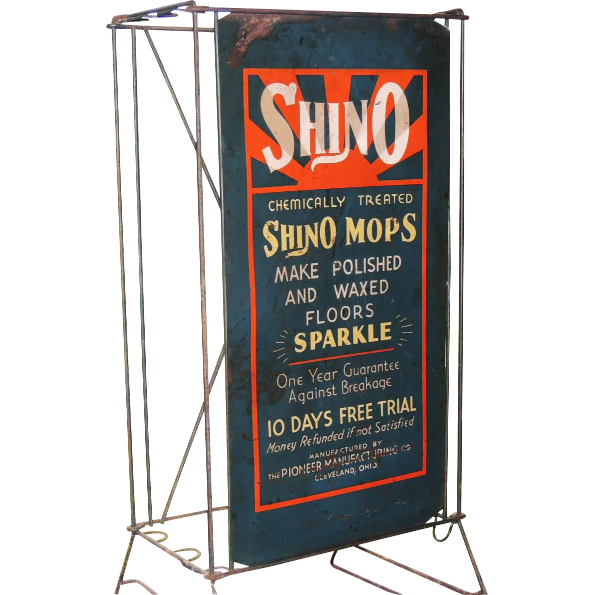 Antique General Store Shino Mop Wire Rack Display & Sign