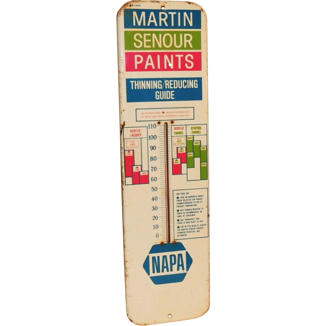 Senour paint colors house paints colors martin senour paint chart - Lg Napa Auto Martin Senour Paint Advertising Metal Thermometer