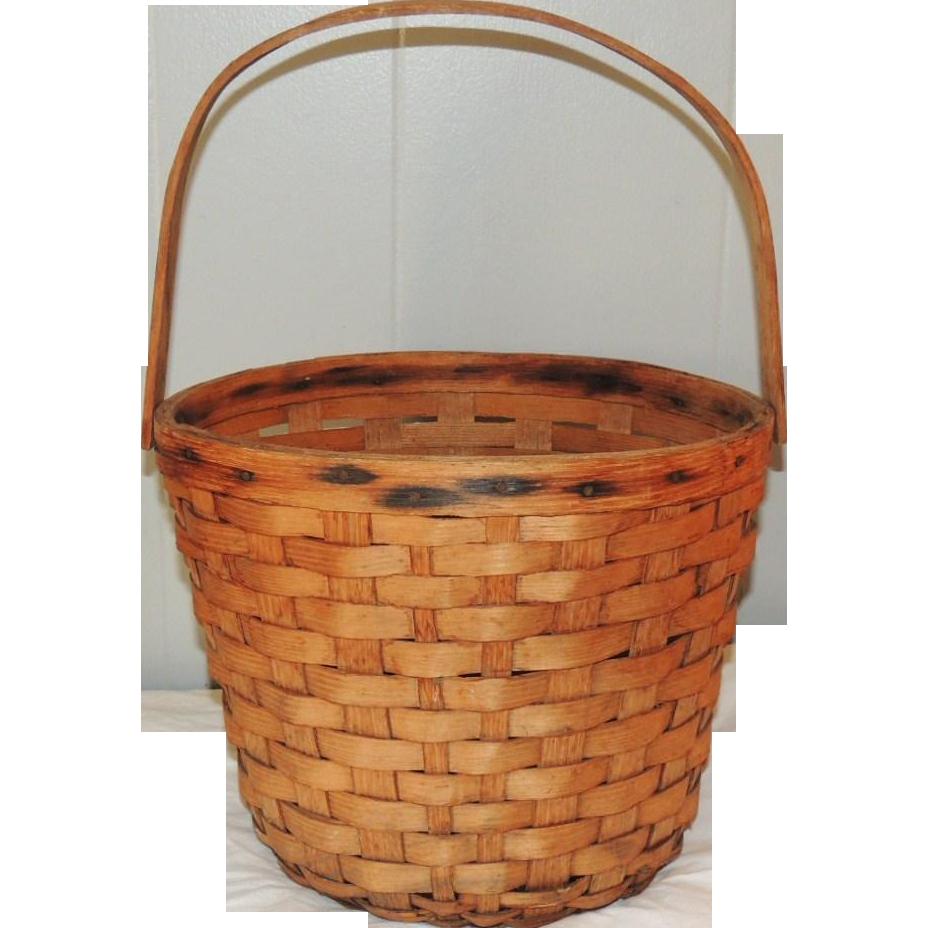 Woven Oak Splint Bucket Basket w Bentwood Handle