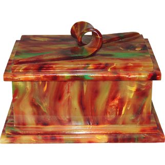 Stunning Galalith Casein Dresser Jewelry Box