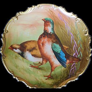 Limoges Borgfeldt Porcelain Plate Game Birds Pheasants Artist Signed