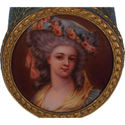 Continental Gilt Metal Ormolu Porcelain Portrait Box Princess de Lamballe Confidant to Marie Antoinette