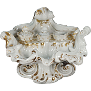 Inkwell Old Paris Porcelain Inkstand Rococo Style 19th Century