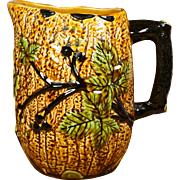 English Majolica Pitcher Large Leaves and Berries