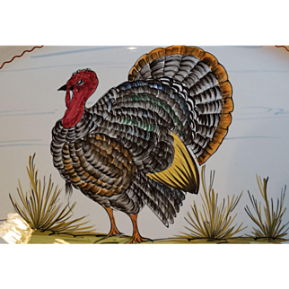 Huge Italian Hand Painted Turkey Platter Whimsical Circa 1920