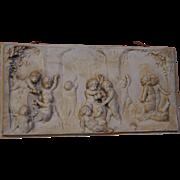 Bas Relief Drunken Babies Putti Cherubs Plaster Wall Sculpture