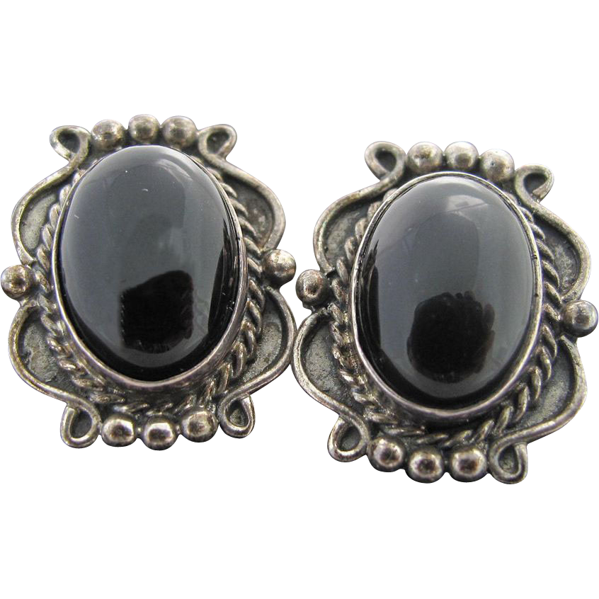 vintage sterling silver onyx post earrings sold on ruby