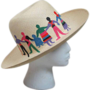 1980's Hand Painted Straw Hat - Red Tag Sale Item