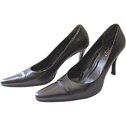 Vintage Dark Brown Gucci Italian Leather Stiletto Pumps Size 9B