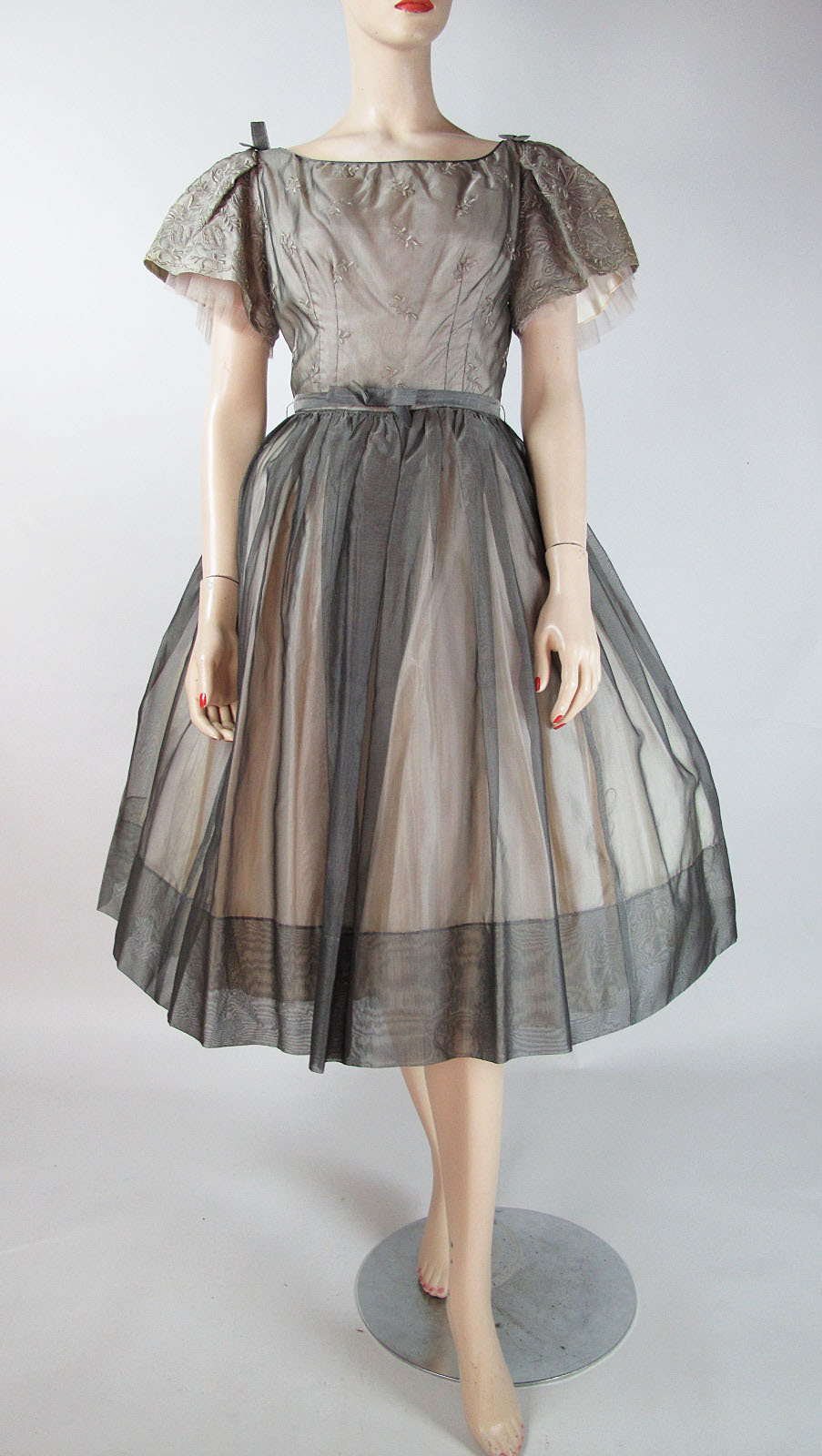 1950 S Vintage Embroidered Silver Organdy Party Dress Sold