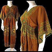 1970's Cotton Dashiki Style Caftan Dress With Drawstring Waist