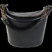 Vintage 1960's Black Leather Bucket Style Handbag