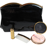 Circa 1950 Vintage Black Patent Vinyl Clutch With Compact Lipstick And Comb