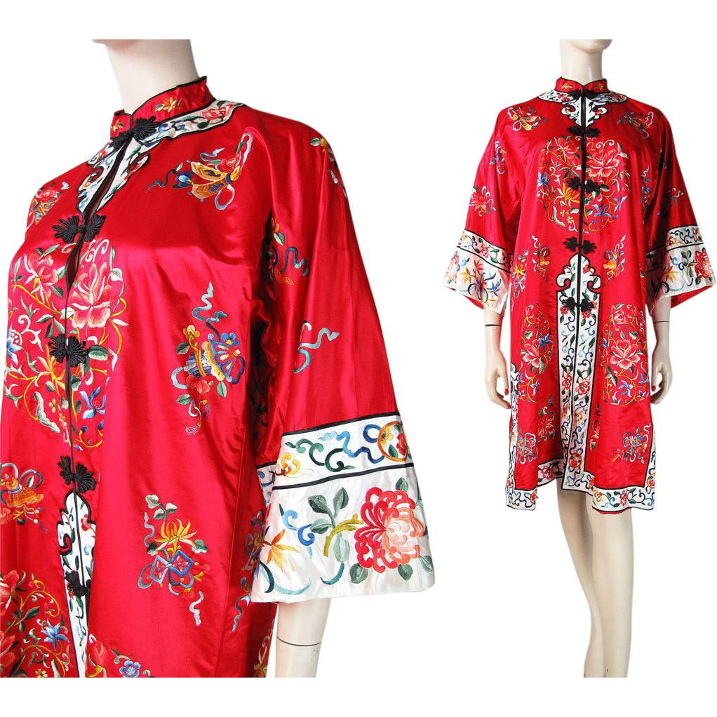 Vintage Chinese Embroidered Satin Long Jacket From