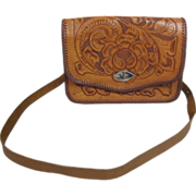 1970's Vintage Maxican Hand Tooled Leather Shoulder Bag