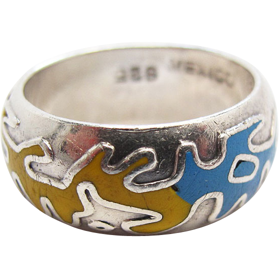 vintage taxco mexican sterling silver enameled ring sold