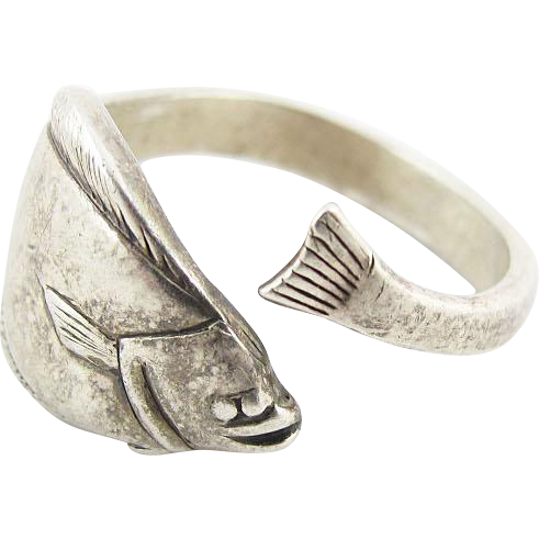 vintage sterling silver fish ring signed kabana from