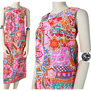 Vintage 1960's Sleeveless Printed Cotton Shift Dress