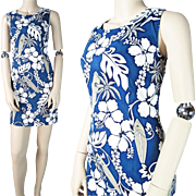 Vintage 1960's Ky's Hawaiian Printed Cotton Shift Dress
