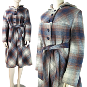 1970's Vintage Belted Plaid Wool Coat With Hood