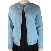 Vintage 1950's Cashmere Blend Sequined Open - Front Cardigan Sweater