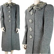 1940's Vintage Franklin Simon Gray Bouclé Wool Coat With Curly Lambswool Collar And Buttons