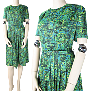 Vintage 1950's Belted Printed Rayon Day Dress
