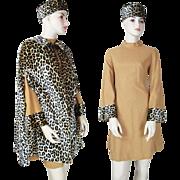1960's Vintage Three - Piece Dress Hat And Reversible Cape Ensemble