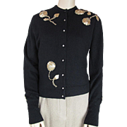 1950's Vintage Orlon Cardigan Sweater With Gold Lamé Beaded Flowers