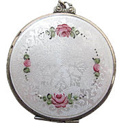 SALE 1930's Vintage Guilloche Enameled Mirrored Compact Pendant