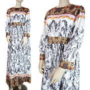 Vintage 1970's Printed Long-Sleeved Maxi Dress