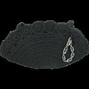 SALE Vintage 1940's Black Corde Handbag / Clutch With Lucite Handle
