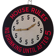 5 O'clock House Rules Vintage Bar Sign.