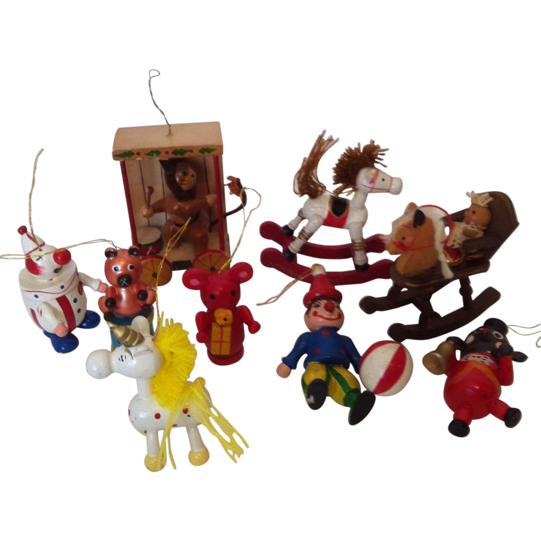 9  Wooden Animal /Circus Christmas Tree Ornaments