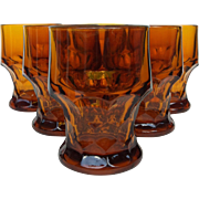 6 Georgian Amber Topaz Tumblers ~ Anchor Hocking