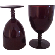 Two Royal Ruby Monarch Water Goblets by Anchor Hocking