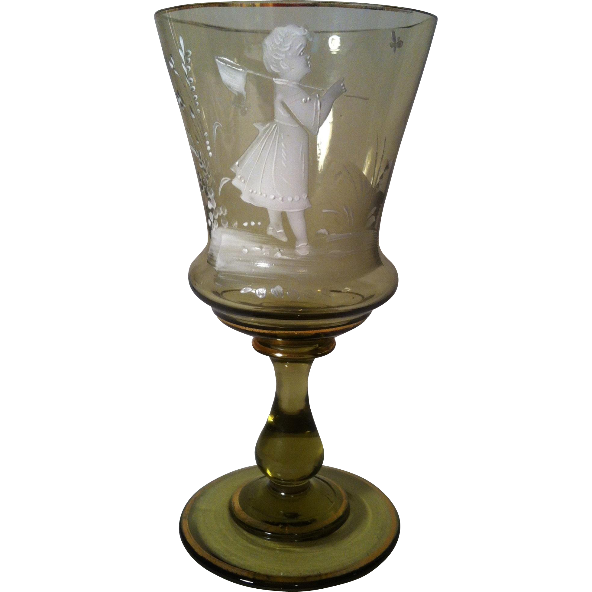 Mary Gregory Girl Chasing Butterfly Amber Goblet