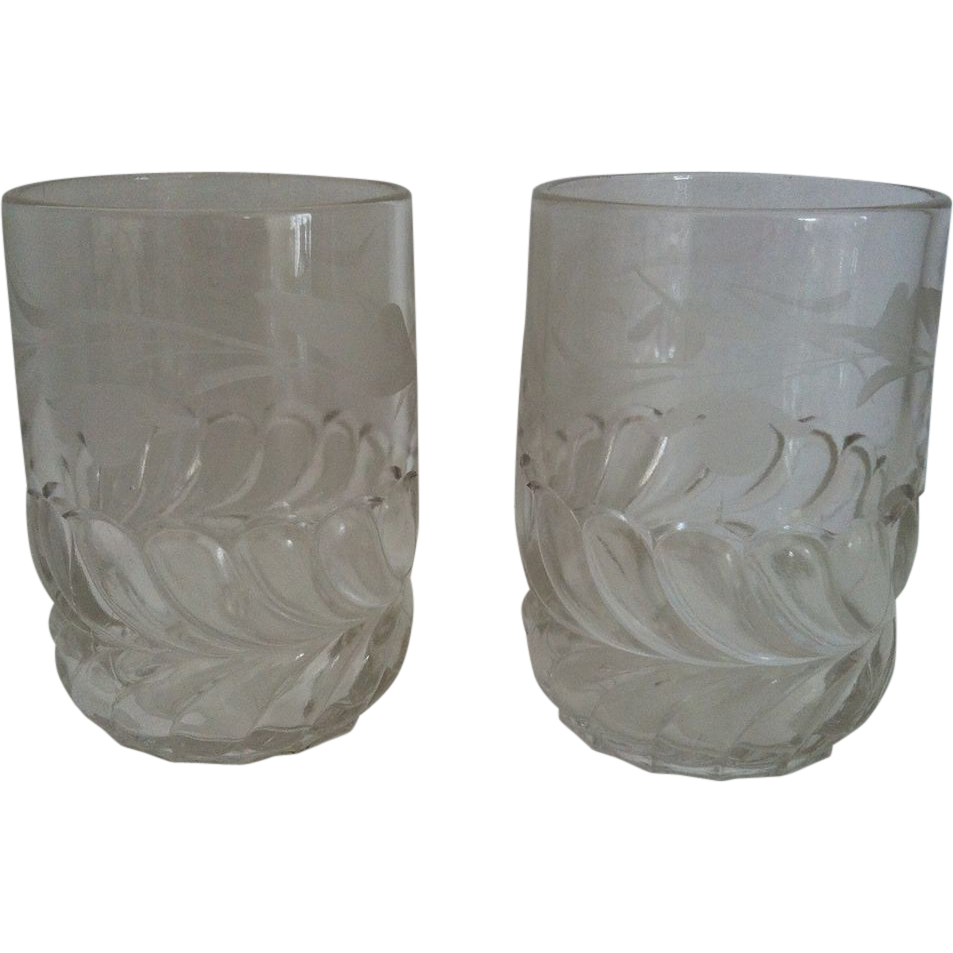 2 Etched Plume Tumblers EAPG Adam's & Co