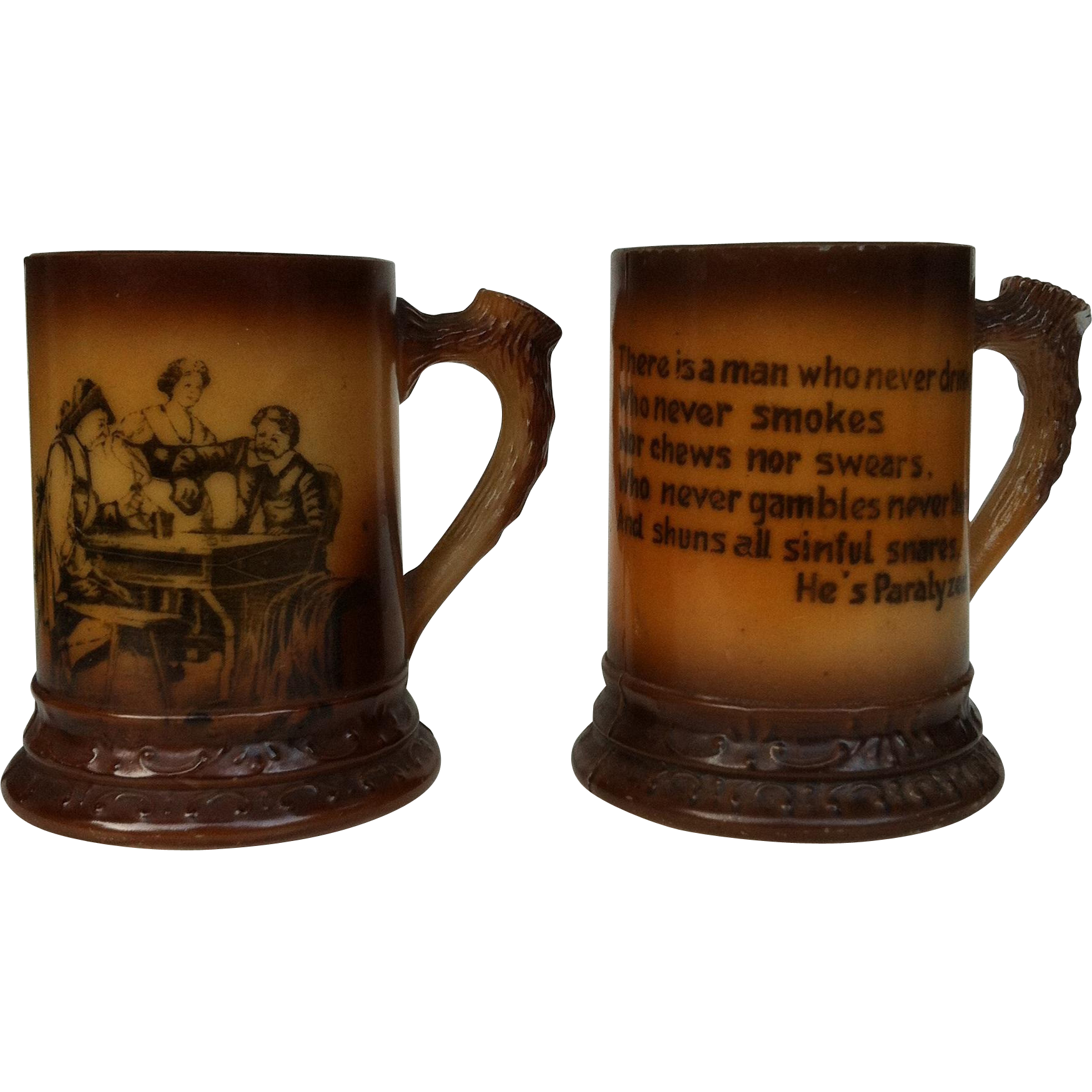 2 Novelty Antler Handle Brown Milkglass Mug / Tankard