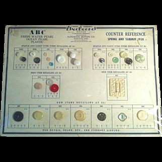 1958 Blue Bonnet Vintage Button Display Chart