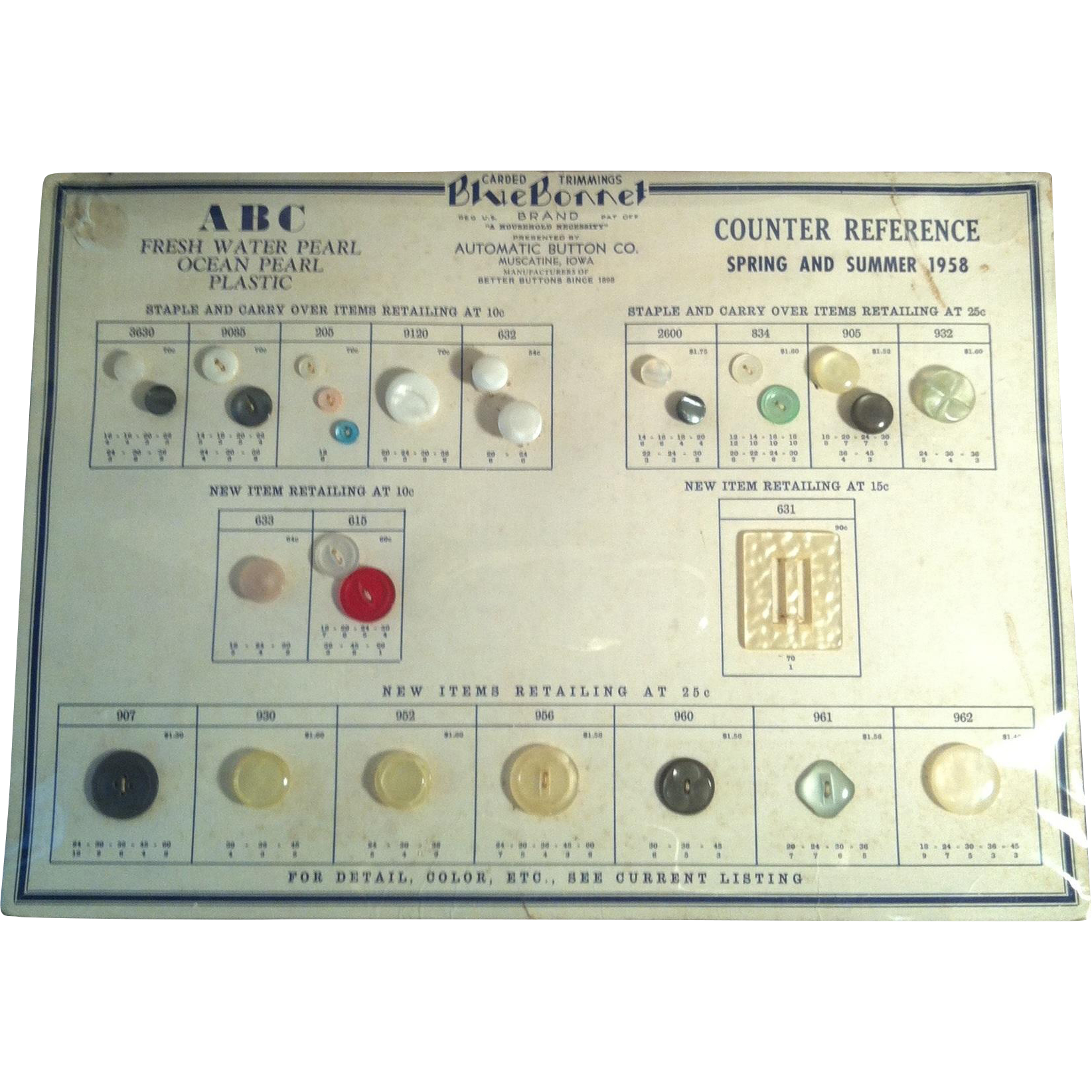 1958 Blue Bonnet Vintage Button Display Chart