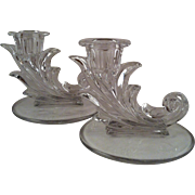 Pair Fostoria Baroque Clear Candlesticks
