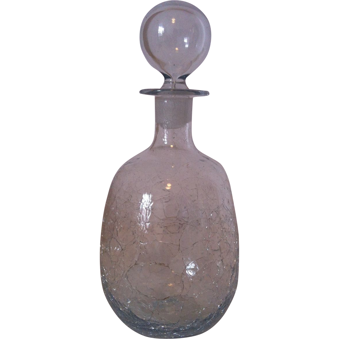Blenko Crystal Crackle  Decanter with Stopper.