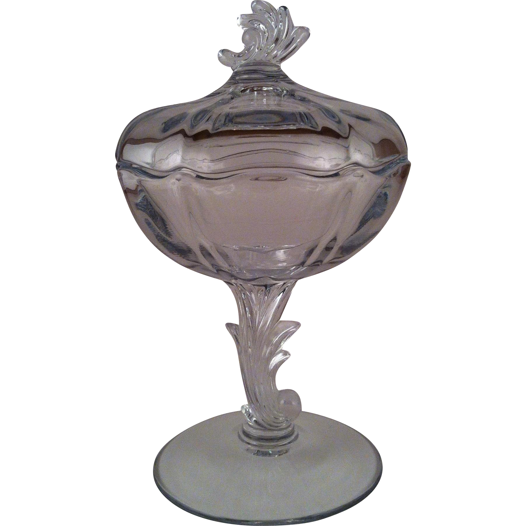 Footed Jelly & Cover Baroque Clear ~ Fostoria