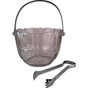 Fostoria Baroque Clear Ice Bucket original Tongs
