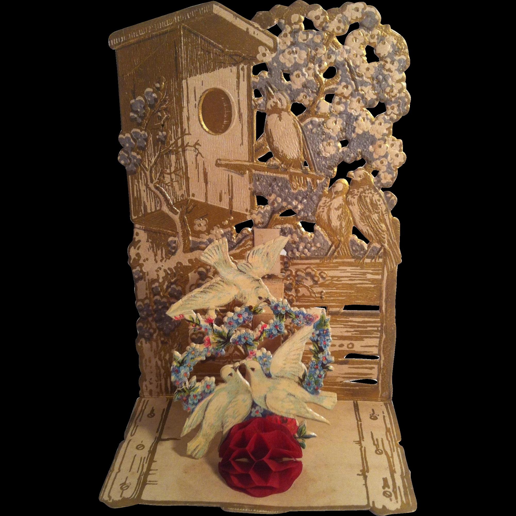 Dove & Birdhouse Pop Up Fold Out Valentine~ Germany