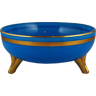 Gilded Blue Opaline / Milk Glass Footed Bowl