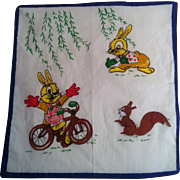 Bunny on Bicycle Child's Handkerchief