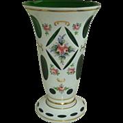 Bohemian Large Overlay White  Cut to Emerald Vase